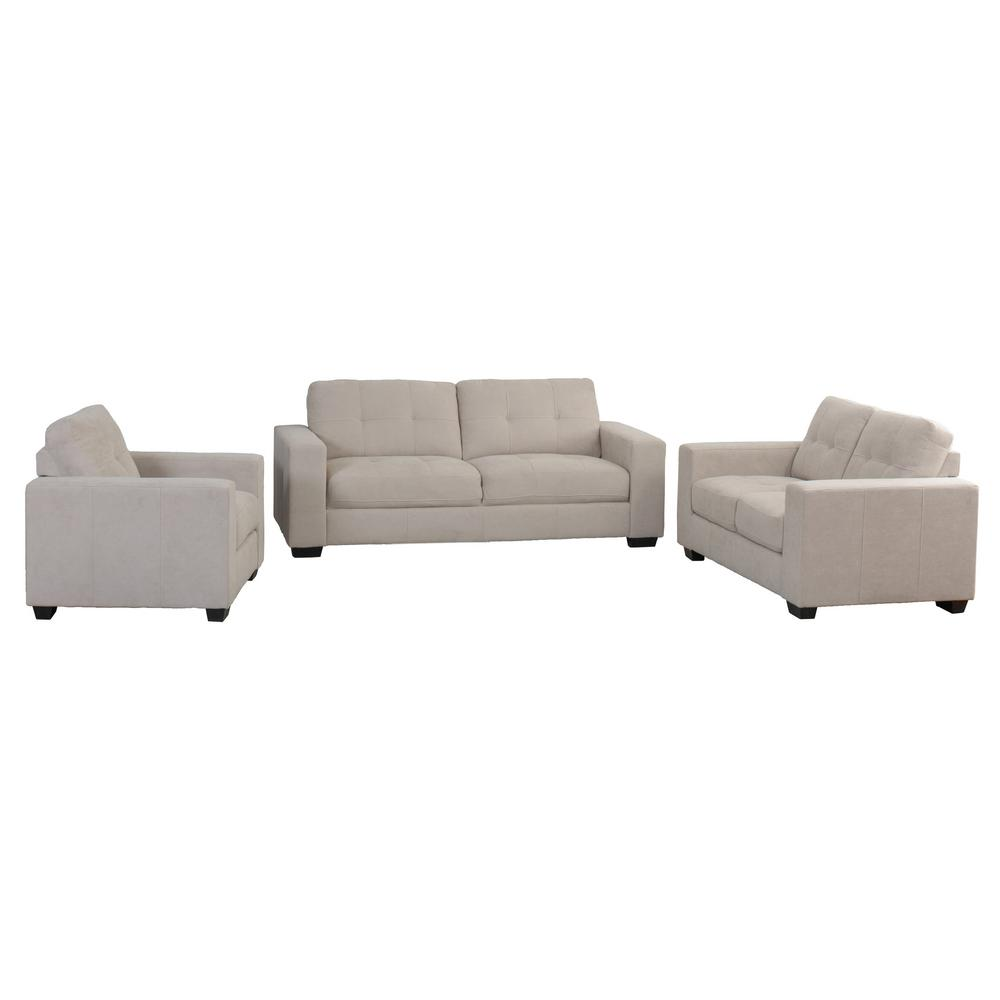 CorLiving Club 3 Piece Tufted Beige Chenille Fabric Sofa Set