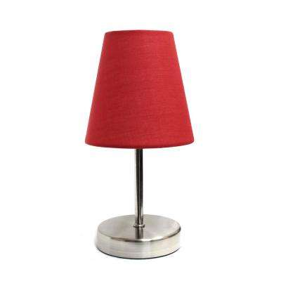 Sand Nickel Mini Basic Table Lamp With Red Fabric Shade