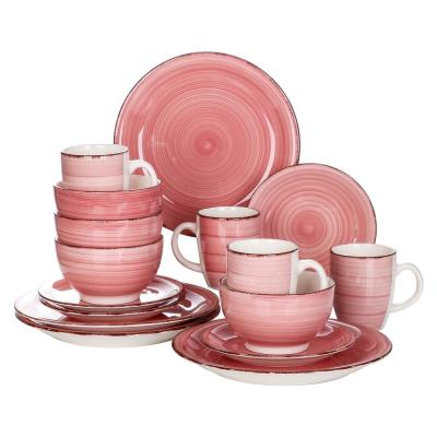 16-Piece Modern Concentric Circles Pink Porcelain Dinnerware Sets (Service for Set for 4)