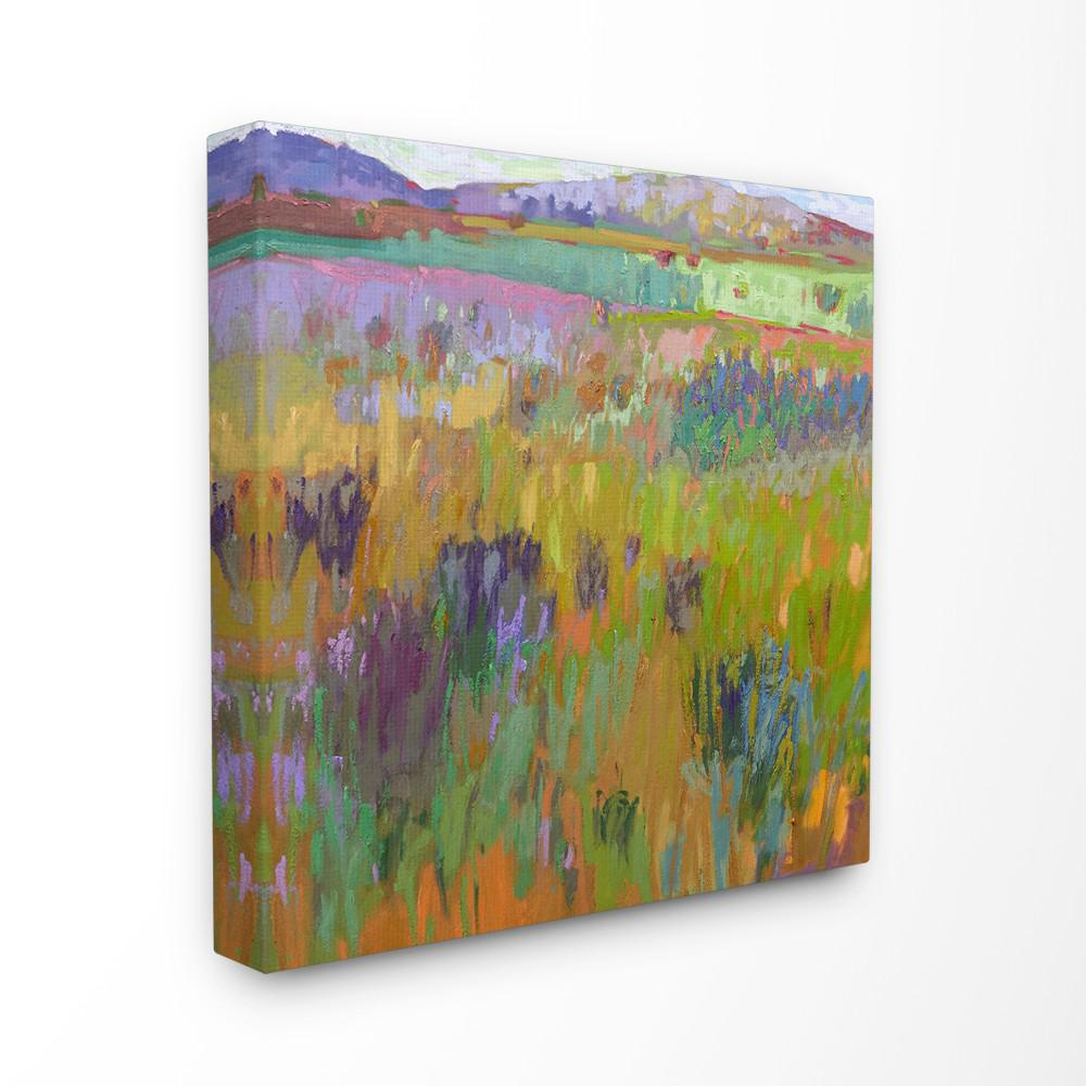 """17 in. x 17 in. """"Pastel Painterly Fields and Flowers Land..."""