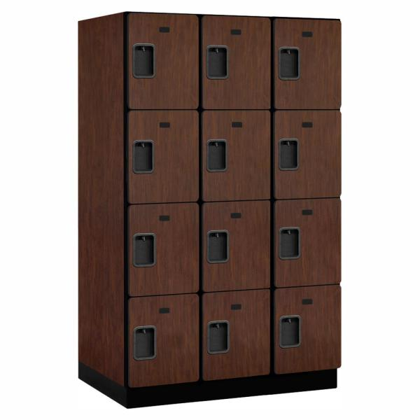 24000 Series 4 Tier 24 in. D 12 Compartments Extra Wide Designer Wood Locker in Mahogany