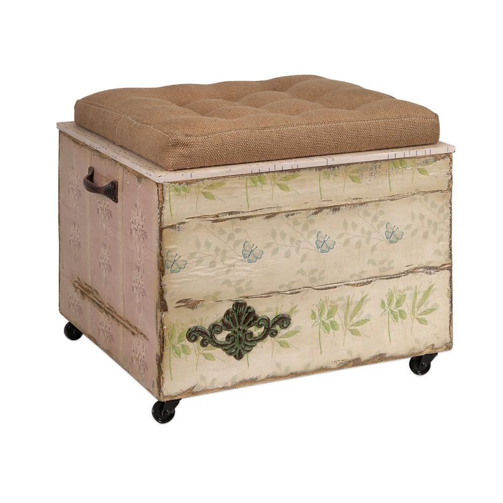Antique Wall Paper Storage Ottoman