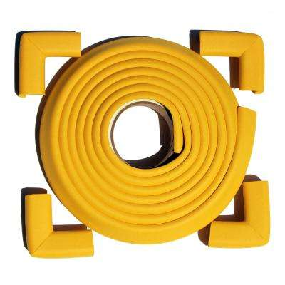 12 ft. Edge and Corner Safety Cushion Roll Plus Corners in Yellow (4-Pack)