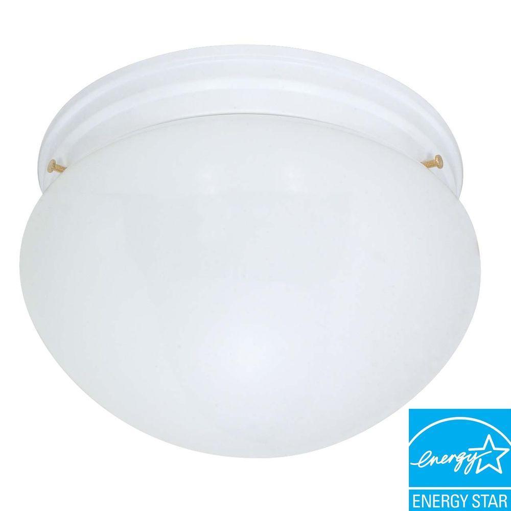 2-Light White Large Mushroom Flush Mount