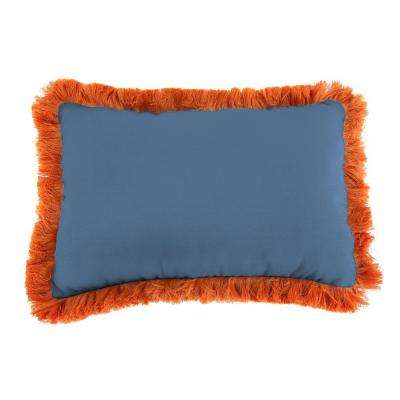Sunbrella 9 in. x 22 in. Canvas Sapphire Blue Lumbar Outdoor Pillow with Tuscan Fringe