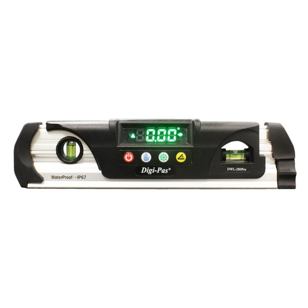 Digi-Pas 9 in. Waterproof IP67 Digital Torpedo Level and Protractor with Magnet LED Bright Display