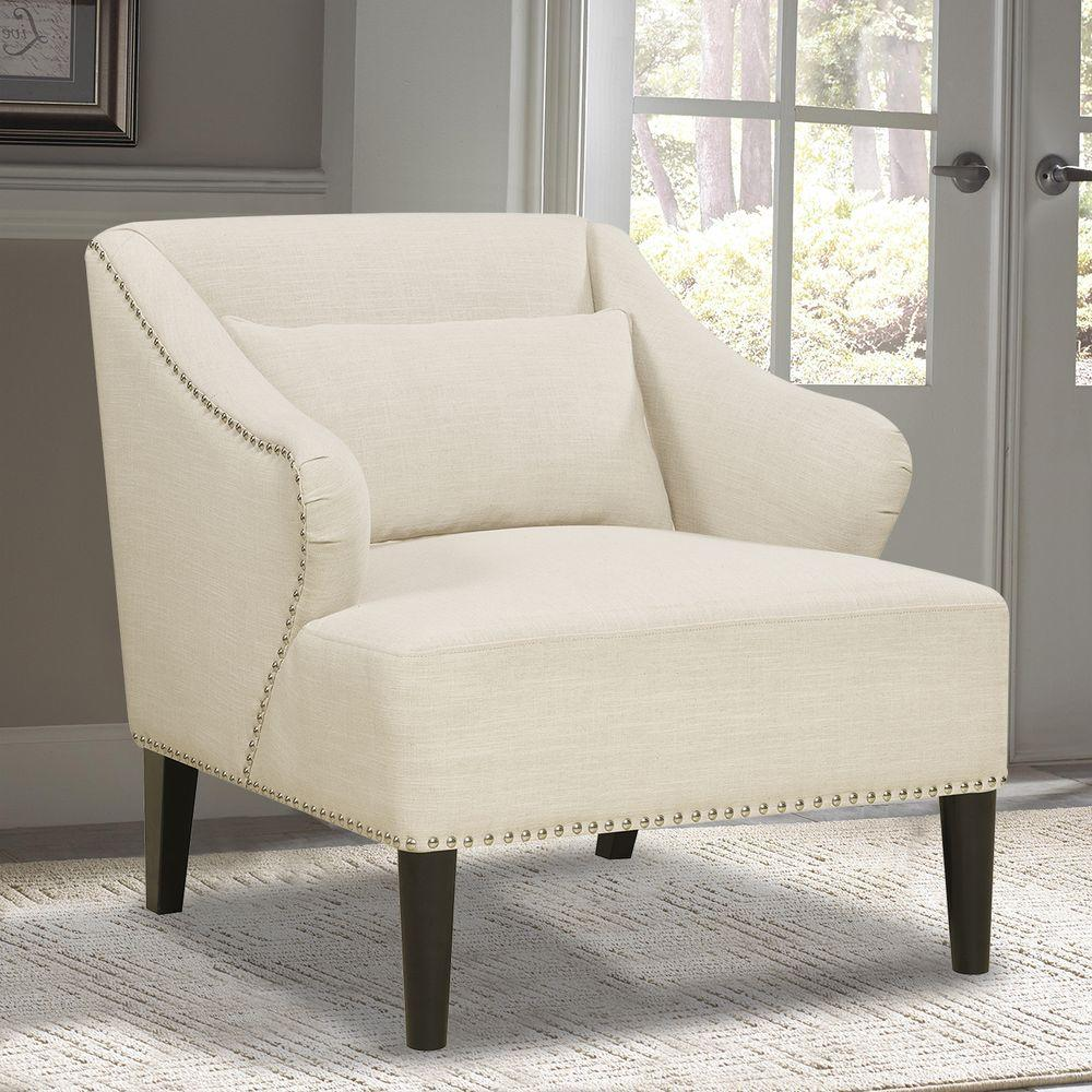 Linon Home Decor Gray Floral Polyester Arm Chair