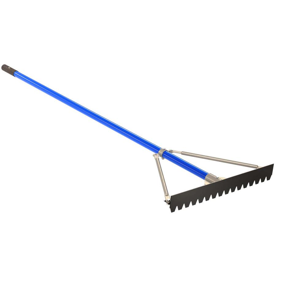 6 ft. Aluminum Handle 24 in. Blunt Tooth Asphalt Lute Rake