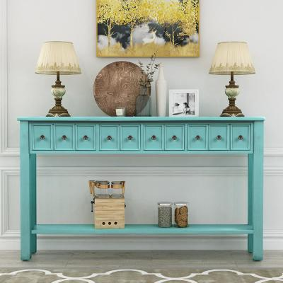 Blue Elvira Console Table with Drawers and Bottom Shelf