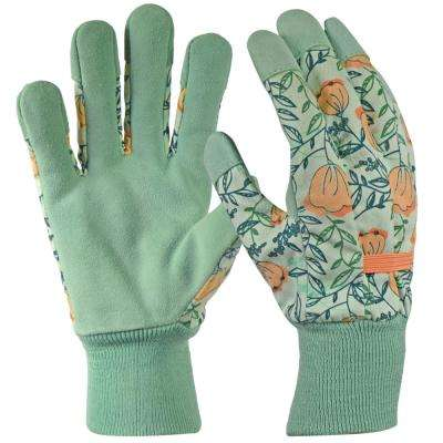 Leather Palm with Knit Wrist Women's Medium Green Glove