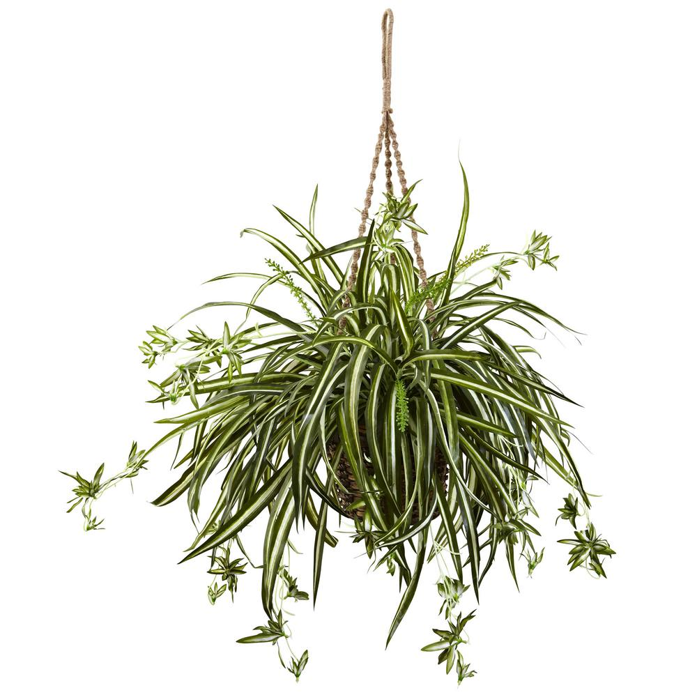 Nearly Natural 20 in. Spider Plant Hanging Basket