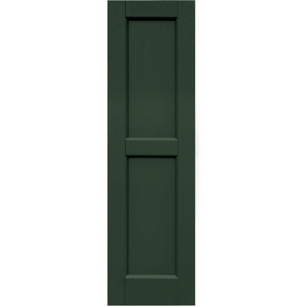 Winworks Wood Composite 12 in. x 42 in. Contemporary Flat Panel Shutters Pair #656 Rookwood Dark Green