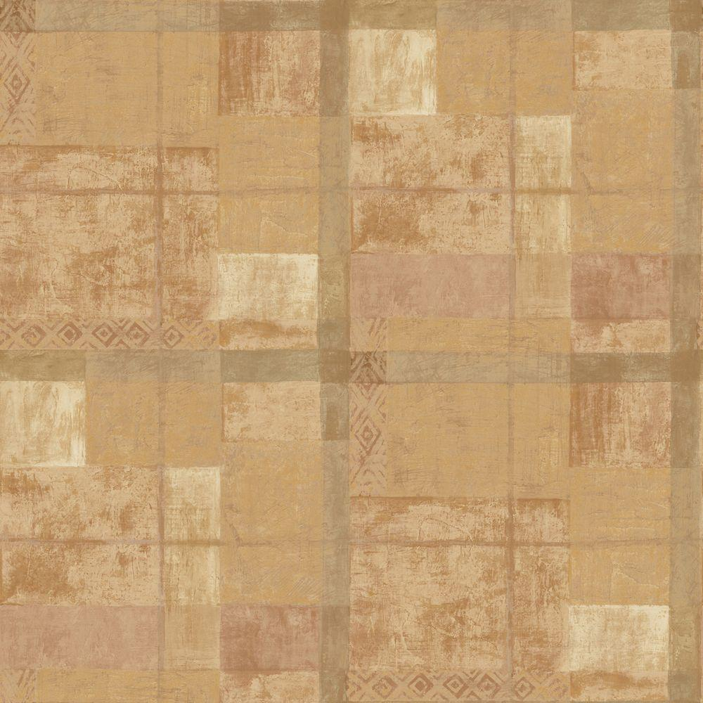 The Wallpaper Company 56 sq. ft. Beige Ethnic Plaid Wallpaper