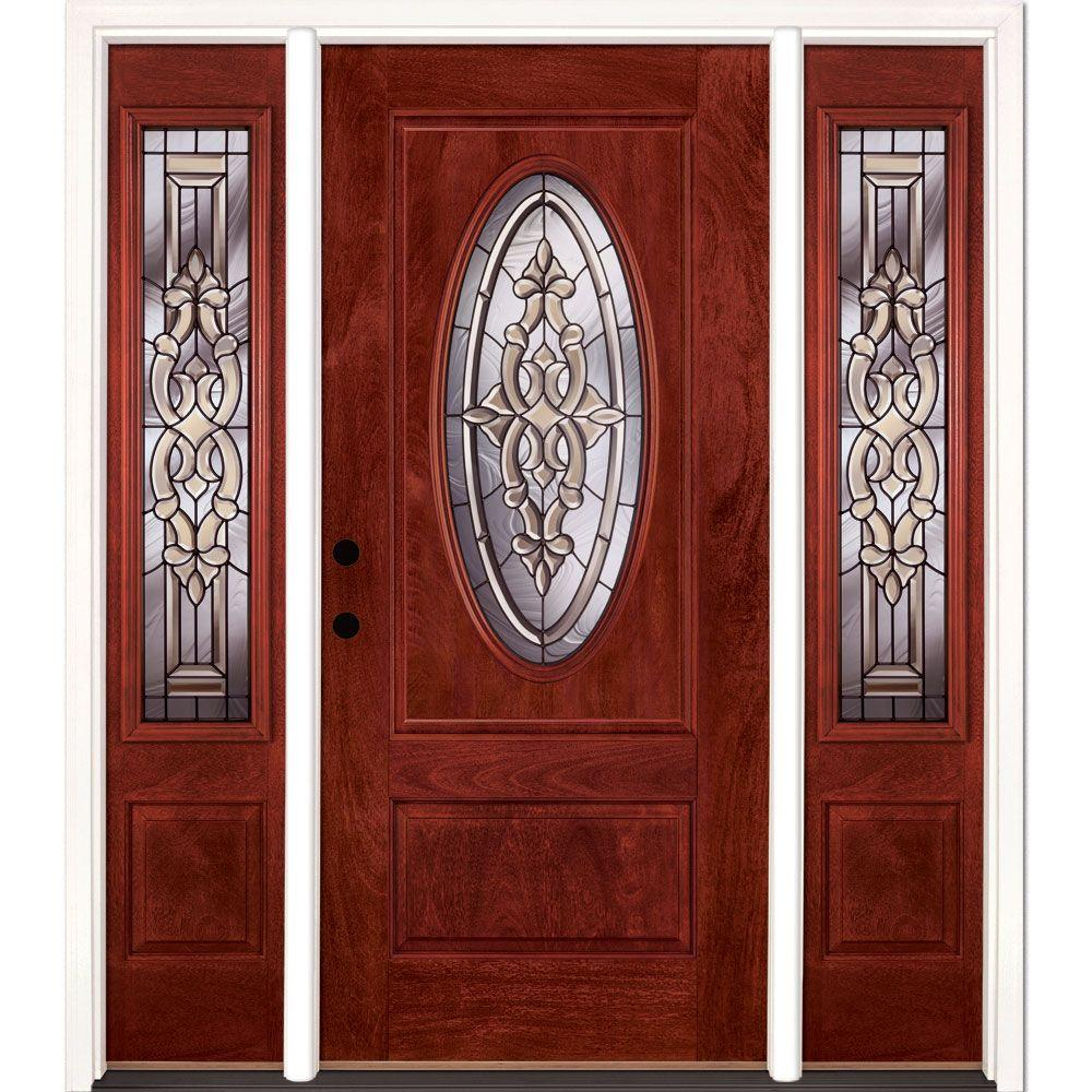Feather River Doors 59.5 in.x81.625in.Silverdale Patina 3/4 Oval Lt Stained Cherry Mahogany Rt-Hd Fiberglass Prehung Front Door w/ Sidelites