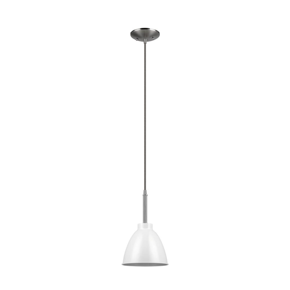 Rickon 1-Light White and Brushed Steel Pendant