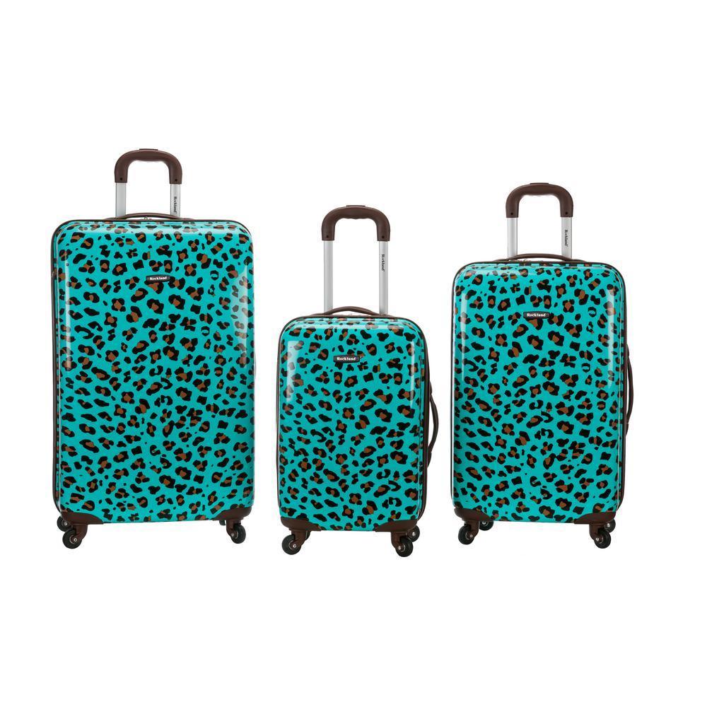 Rockland Leopard 3-Piece Hardside Luggage Set, Blueleopard