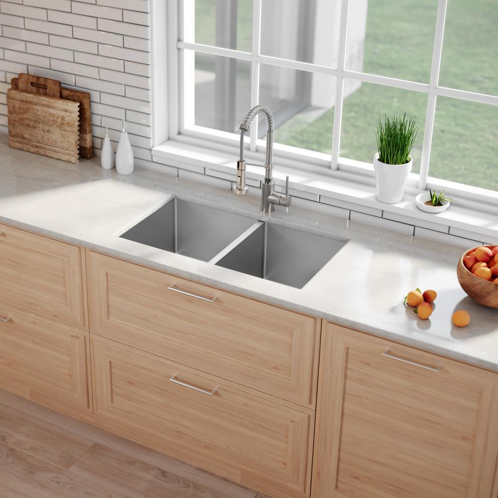Kraus Standart Pro 33in 16 Gauge Undermount 50 50 Double Bowl Stainless Steel Kitchen Sink Khu102 33 The Home Depot
