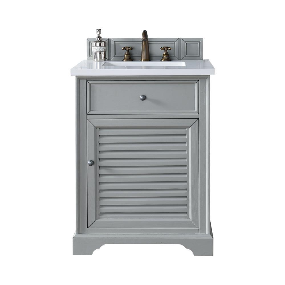 Savannah 26 in. W Single Vanity in Urban Gray with Quartz Vanity Top in White with White Basin