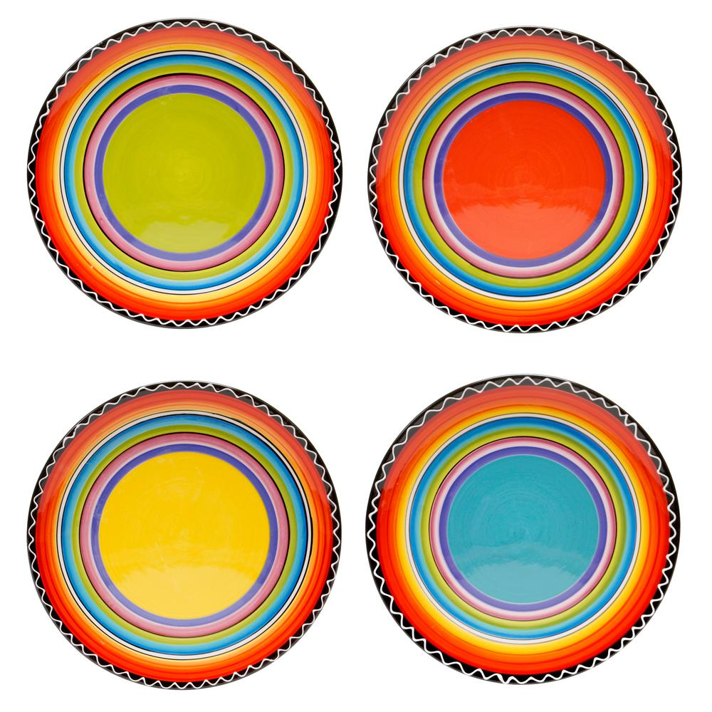 Multi-Colored Salad and Dessert Plate (Set of 4  sc 1 st  Home Depot & Tequila Sunrise 9 in. Multi-Colored Salad and Dessert Plate (Set of ...