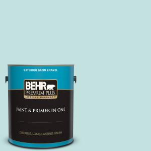 Behr Premium Plus 1 Gal T17 04 Peek A Blue Satin Enamel Exterior Paint And Primer In One 905001 The Home Depot