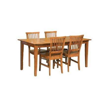Arts and Crafts 5-Piece Cottage Oak Dining Set