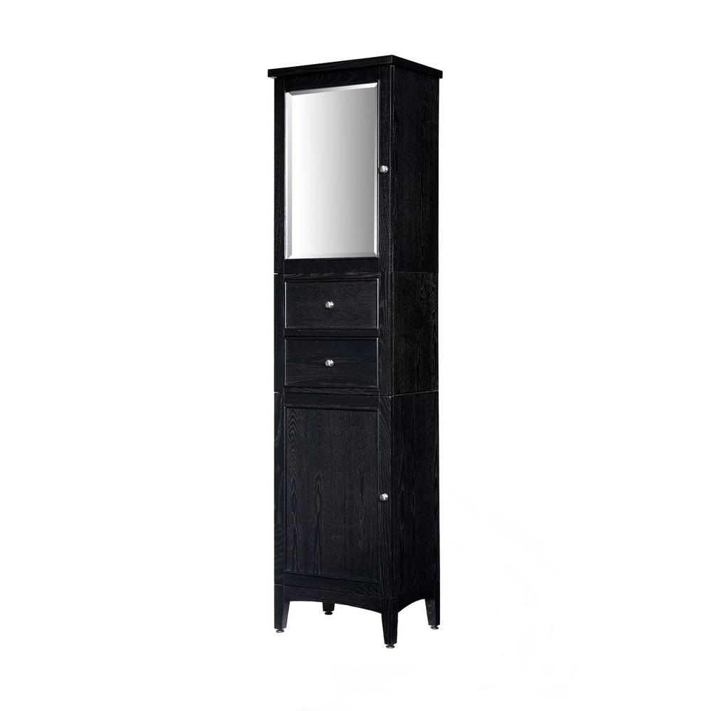 Ryvyr Linen Storage Tower Cabinet Mirror Brown Ebony Product Picture