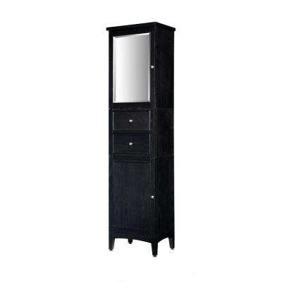 Kent 19 in. W x 75 in. H x 14 in. D Bathroom Linen Storage Tower Cabinet with Mirror in Brown Ebony