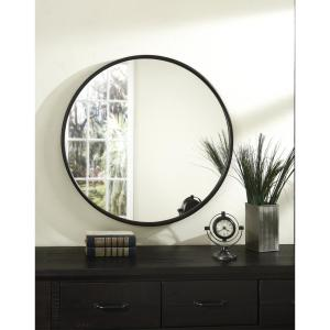 Medium Round Oil Rubbed Bronze Hooks Modern Mirror (30 in. H x 30 in. W)