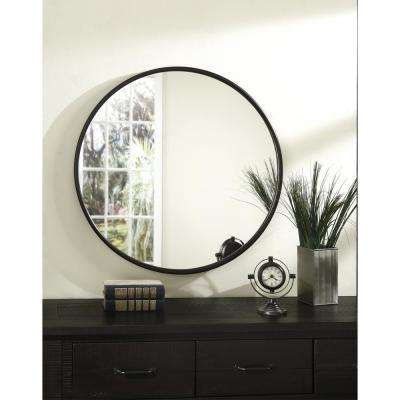 30 in. Oil Rubbed Bronze Framed Round Wall Mirror
