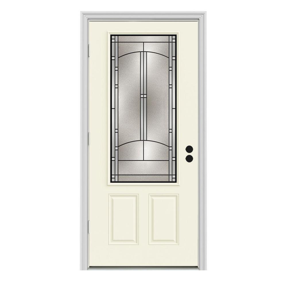 Jeld wen 36 in x 80 in 3 4 lite idlewild vanilla painted steel prehung right hand outswing 36 x 80 outswing exterior door