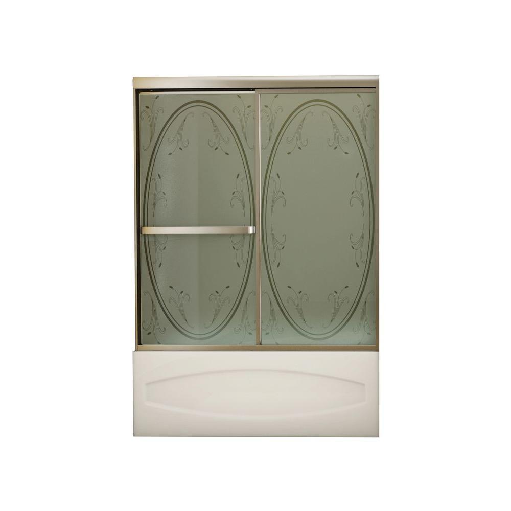 MAAX Vertiga 59 in. x 57 in. Sliding Tub/Shower Door in Satin Nickel with Summer Breeze Glass