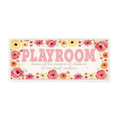 """7 in. x 17 in. """"Playroom Home Of Mischief Makers Pink"""" by Stephanie Workman Marrott Printed Wood Wall Art"""