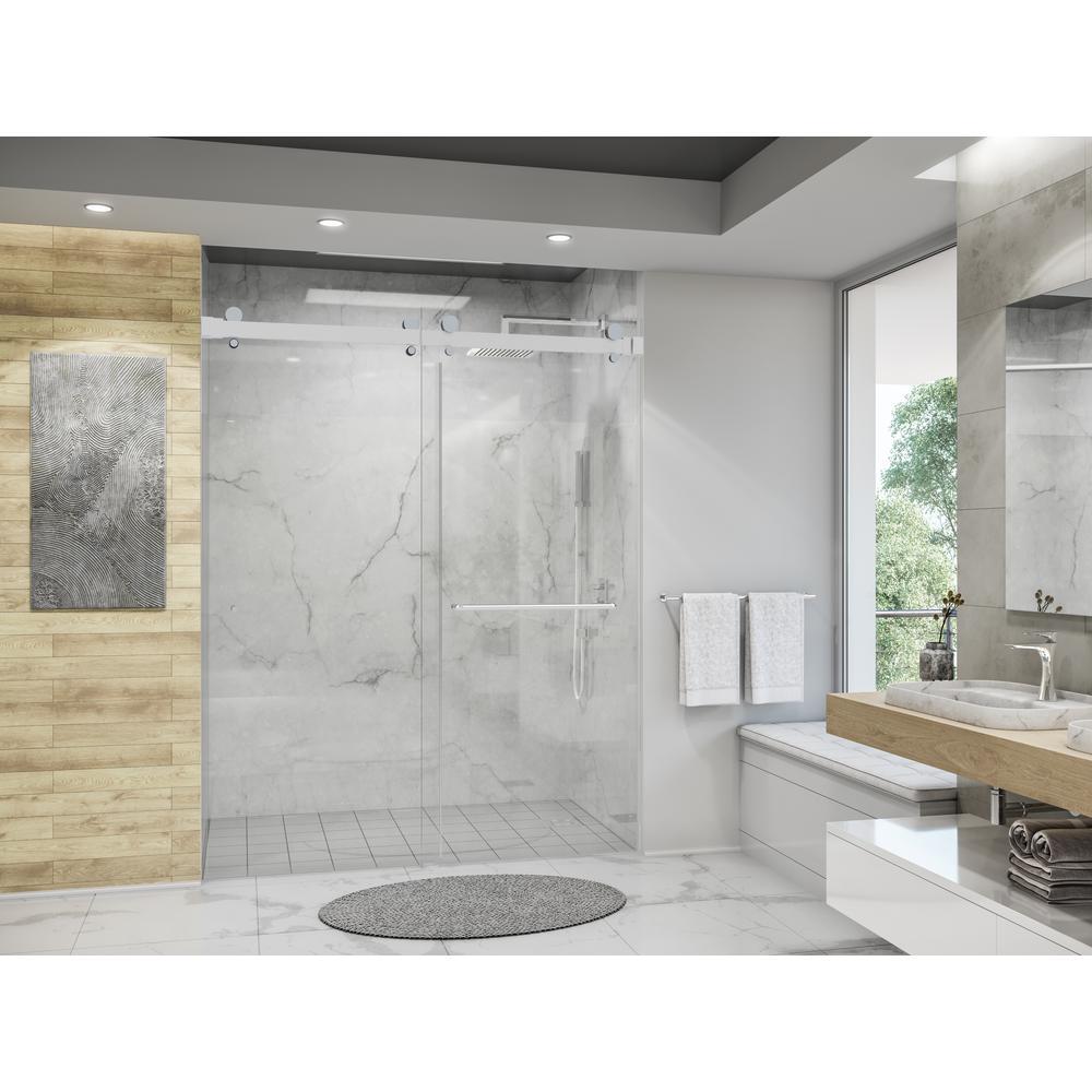 Luna 56 in. - 58 in. W x 74 in. H Frameless Bypassing Sliding Shower Door in Brushed Nickel