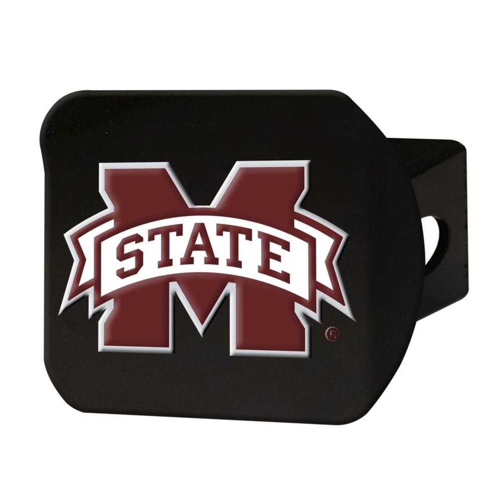NCAA Mississippi State University Color Emblem on Black Hitch Cover
