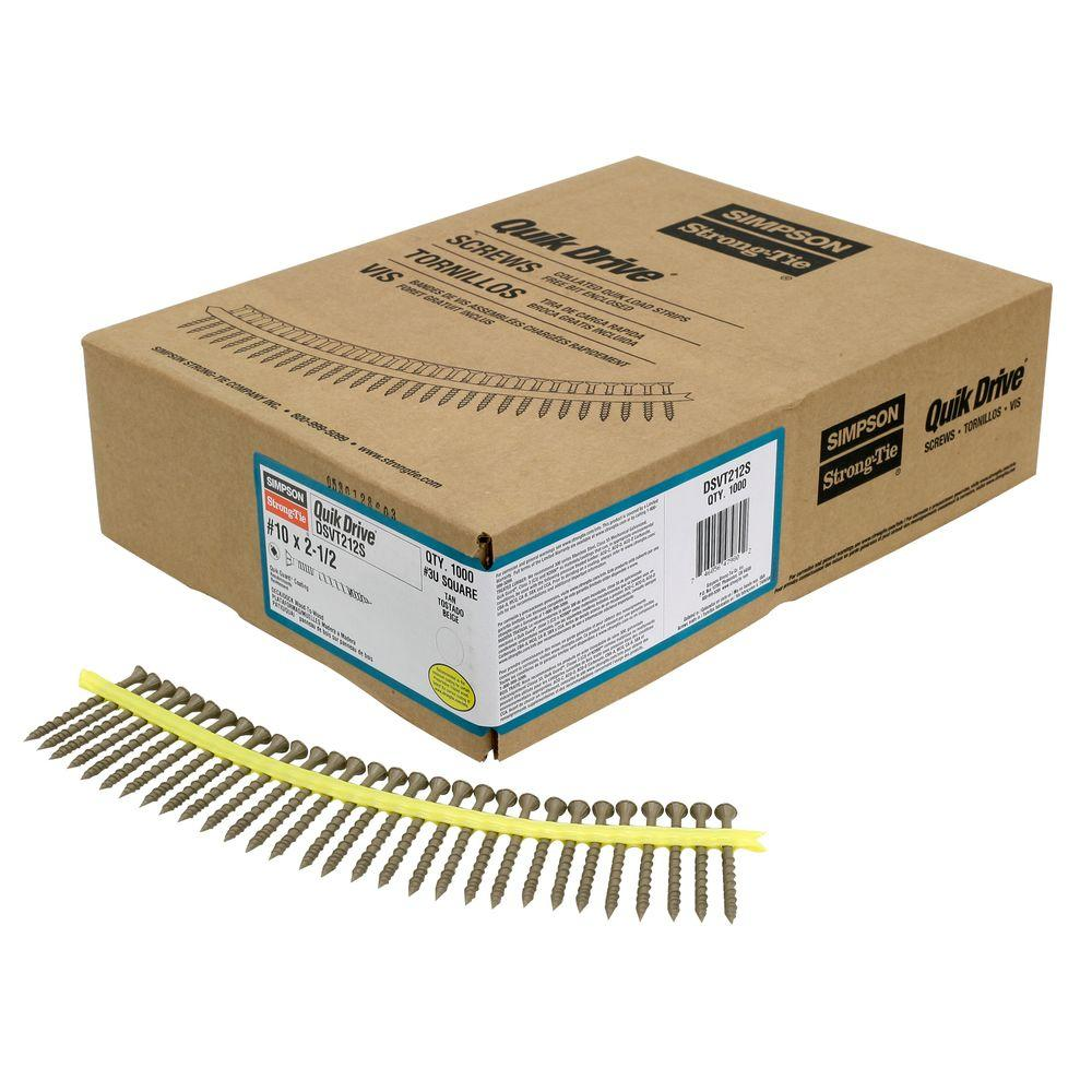 Simpson Strong-Tie Quik Drive #10 2-1/2 in  Quik Guard Tan DSV Collated  Decking Screw (1,000 per Box)
