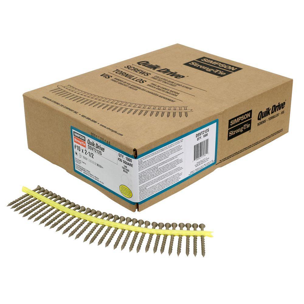 #10 x 2-1/2 in. T-25 6-Lobe, Deck-Drive DSV Collated Wood Screw, Tan (1000-Pack)