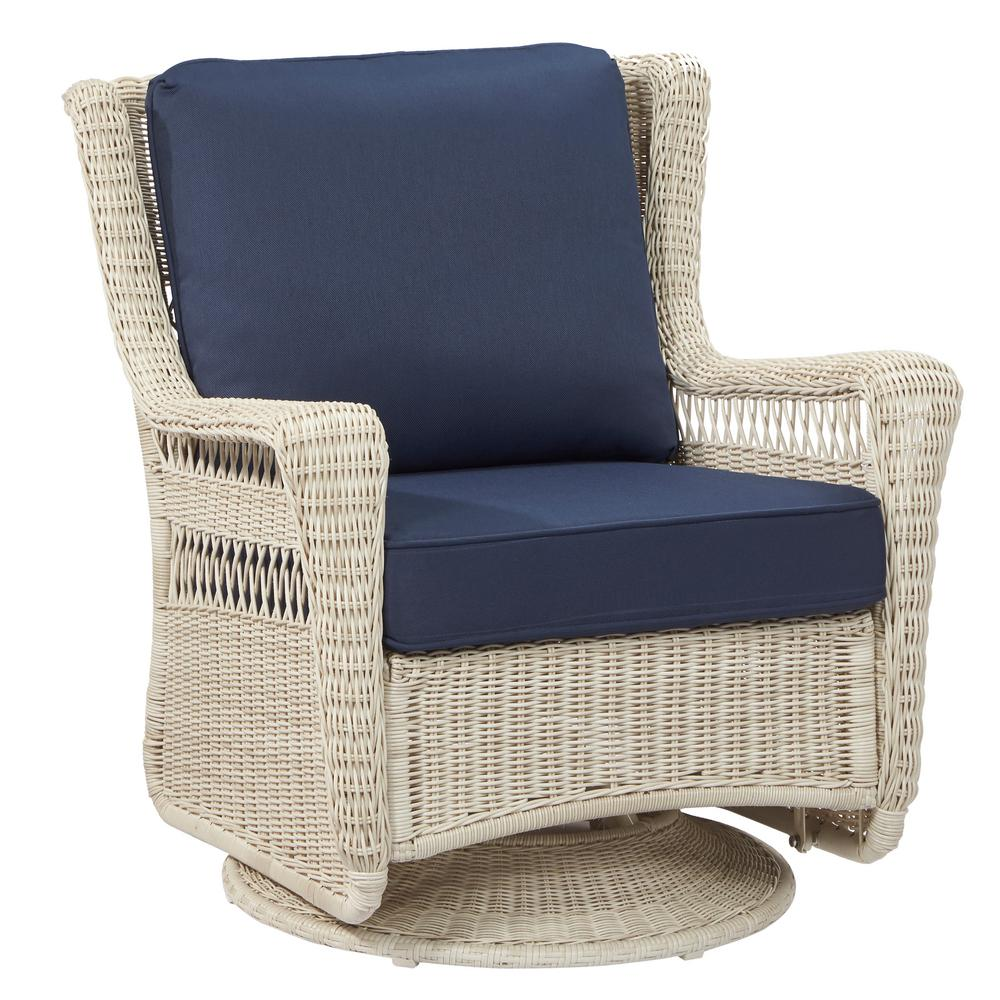 hampton bay park meadows off white swivel rocking wicker outdoor lounge chair with midnight cushion
