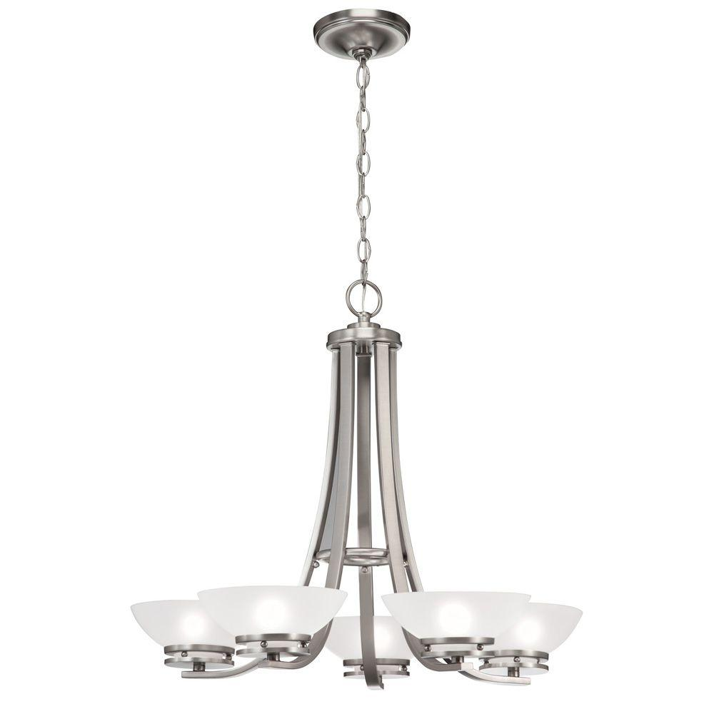 Hampton bay 5 light brushed nickel contemporary chandelier with hampton bay 5 light brushed nickel contemporary chandelier with frosted glass shades aloadofball Images