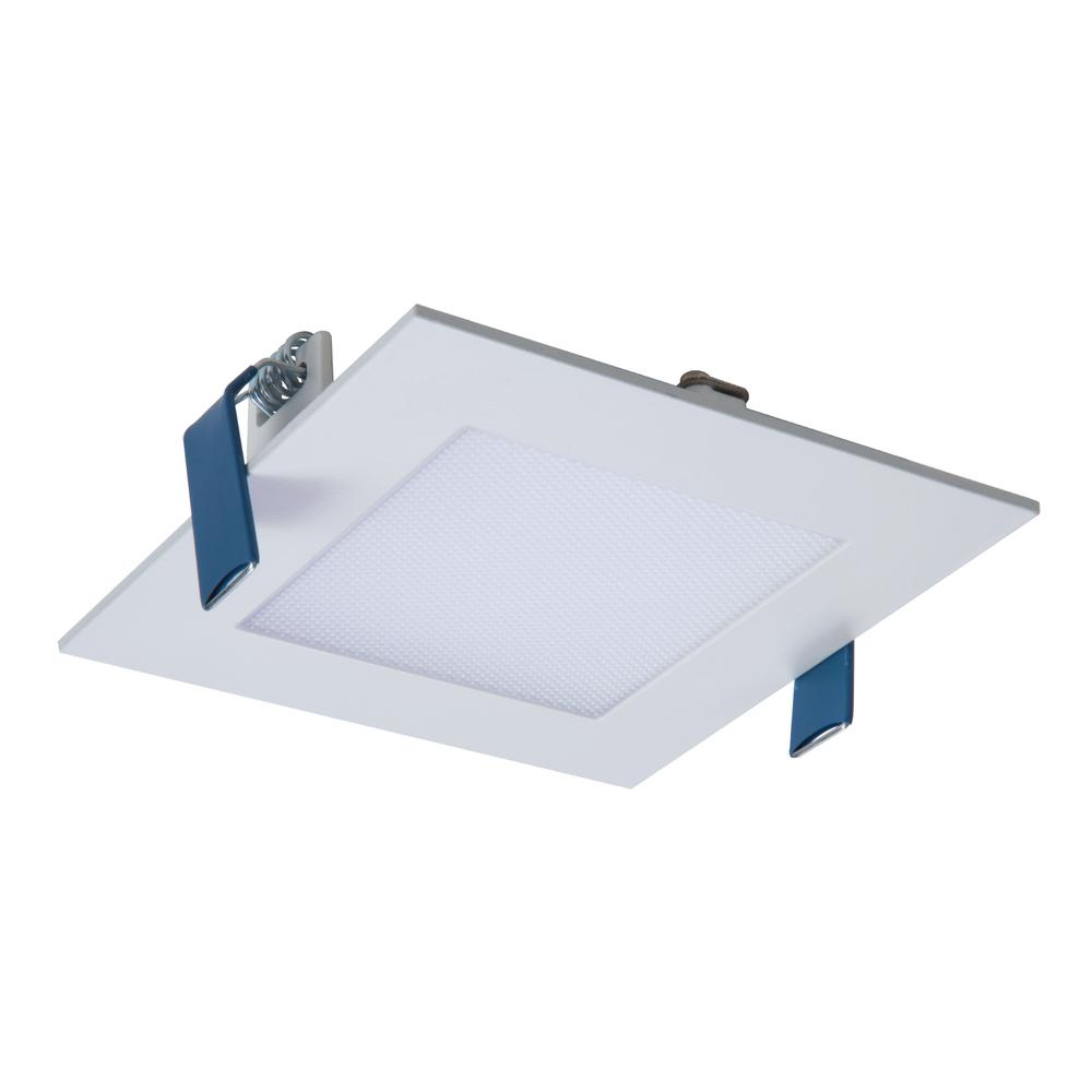 the latest 3d0b5 702c9 Halo HLB 4 in. Square Selectable Color Temp New Construction and Remodel  Canless Recessed Integrated LED Direct Mount Kit