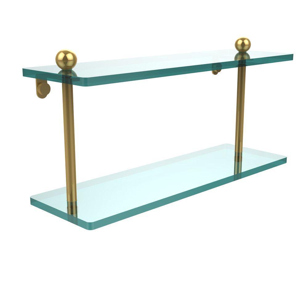 16 in. L x 8 in. H x 5 in. W 2-Tier Clear Glass Bathroom Shelf in Polished Brass