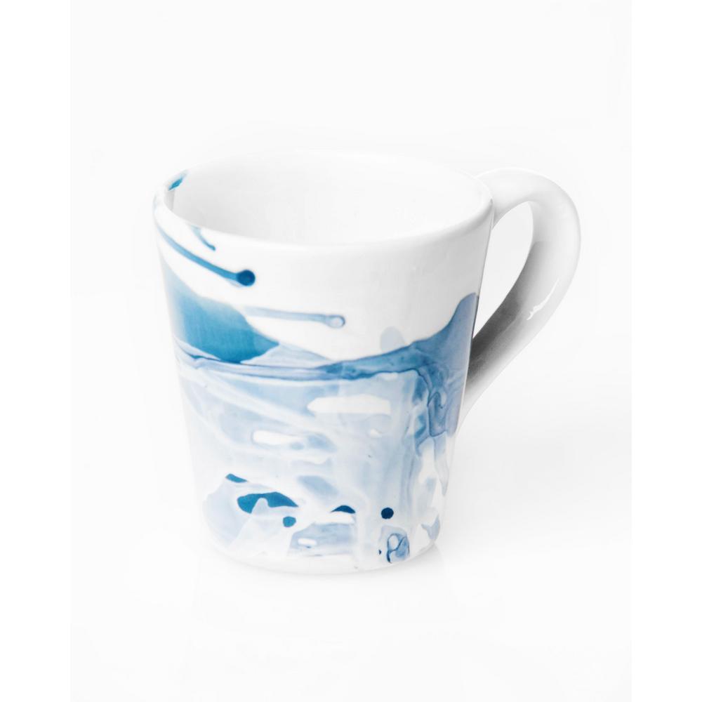 Splash Blue & White Mug, Set of 4