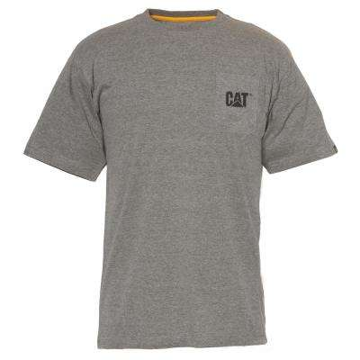 Logo Men's Large Dark Heather Grey Cotton Short Sleeved Pocket T-Shirt
