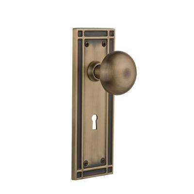 Mission Plate with Keyhole Double Dummy New York Door Knob in Antique Brass