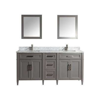 Savona 72 in. W x 22 in. D x 36 in. H Bath Vanity in Grey with Vanity Top in White with White Basin and Mirror