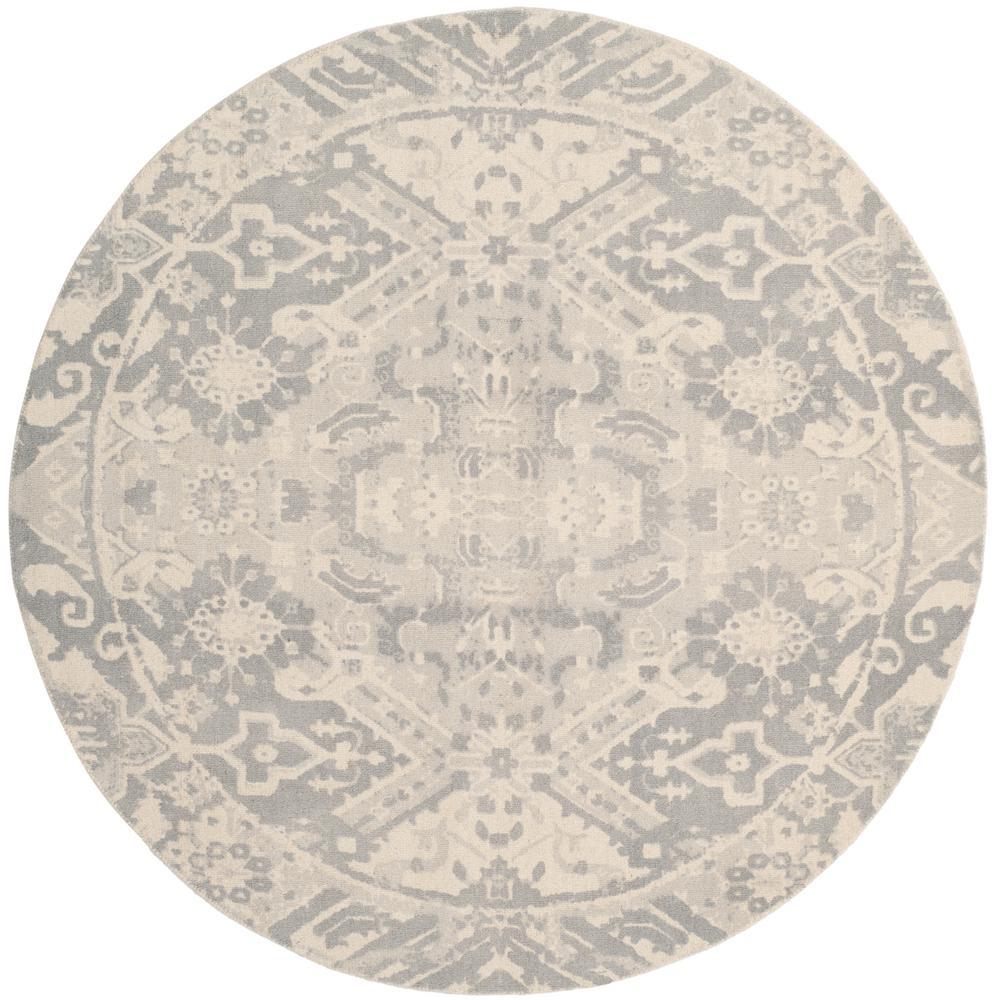 Safavieh Restoration Vintage Light Gray/Ivory 6 ft. x 6 ft. Round Area Rug