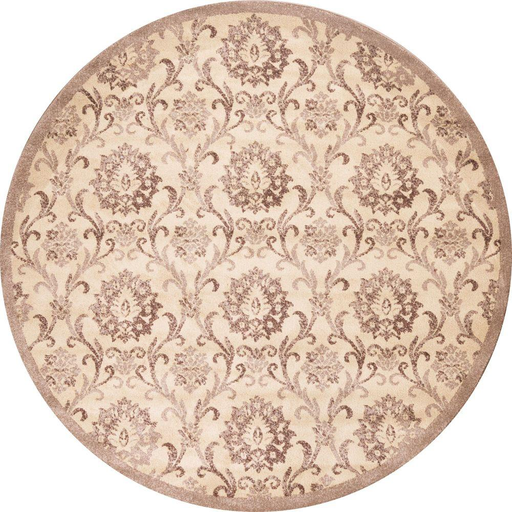 Concord Global Trading Mooresville Damask Ivory 5 ft. 3 in. Round Area Rug