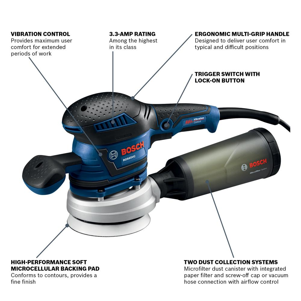 Bosch 3 3 Amp Corded 5 In Variable Speed Random Orbital Sander Polisher With Vibration Control Ros65vc 5 The Home Depot