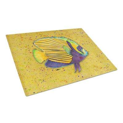 Tropical Fish on Mustard Tempered Glass Large Cutting Board
