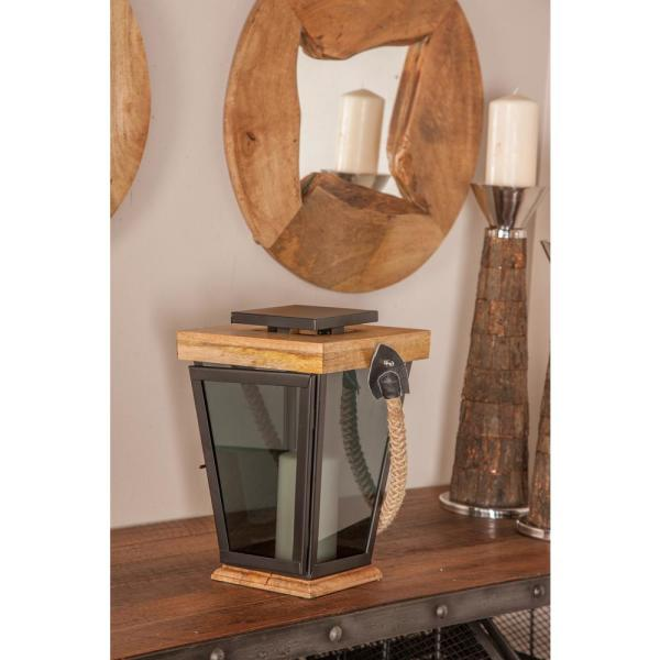 13 in. Black Trapezoidal Candle Lantern