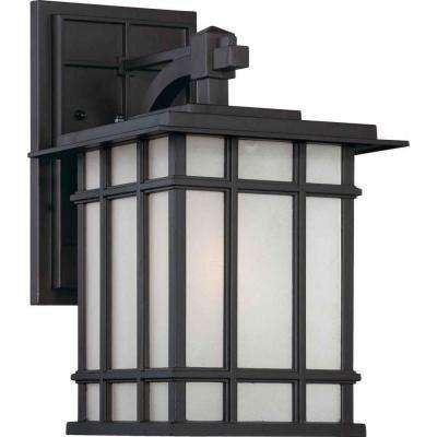 1-Light Indoor or Outdoor Antique Bronze Aluminum Box Lantern Wall Mount or Wall Sconce Light with Frosted Seedy Glass